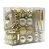 Woowell Shatterproof Ornaments Christmas tree decoration, 54 Set Luxury Collection Gold Assorted Xmas Balls, Reusable Hand-held Gift Box (Gold)