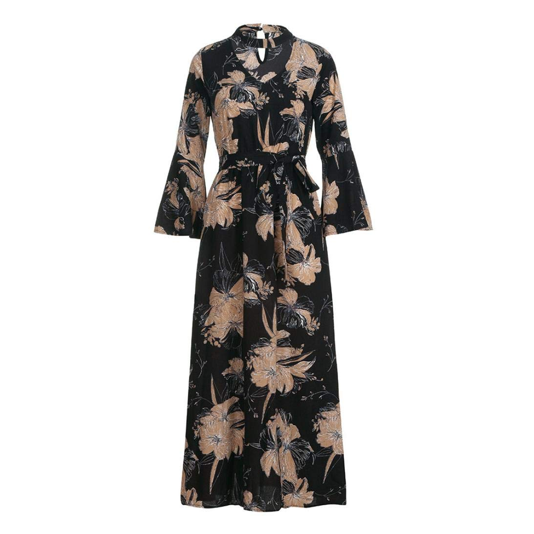 Leoy88 Womens Trumpet Sleeve Print Waist Elastic Waist Polar Long Dress