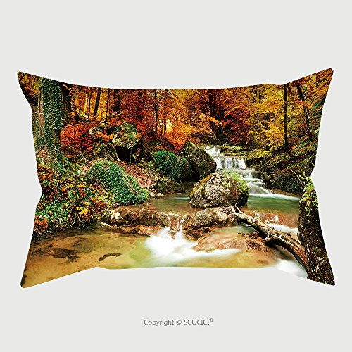 Custom Microfiber Pillowcase Protector Autumn Creek Woods With Yellow Trees Foliage And Rocks In Forest Mountain 88802359 Pillow Case Covers Decorative