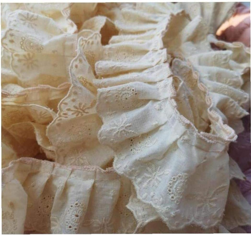 5CM Wide Embroidery Yellow Flower Lace Fabric Trim Ribbon Applique DIY Sewing Collar Ruffle Guipure Wedding Cloth Decor