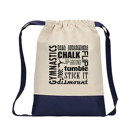79ec7375b9b4 Amazon.com | Drawstring Bag Color Canvas Gymnastics Chalk Tumble Dismount  Stick It Flip Navy | Drawstring Bags
