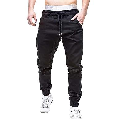 55301c08159 DOLDOA Mens Sweatpants Slacks Casual Elastic Solid Color Pockets Drawstring  Stretch Waist Plus Size Sport Casual