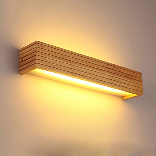 Amazon.com: Modernas luces de pared de madera para baño, LED ...