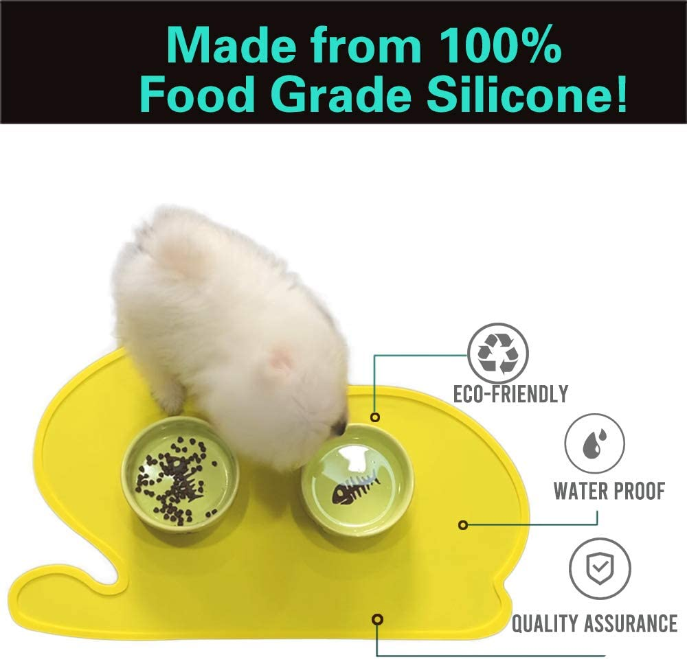 PINCTROT Silicone Dog Cat Bowl Mats Waterproof Pet Tray Easy Clean Cute Kitty Shape Food Grade Feeding Placemat Yellow
