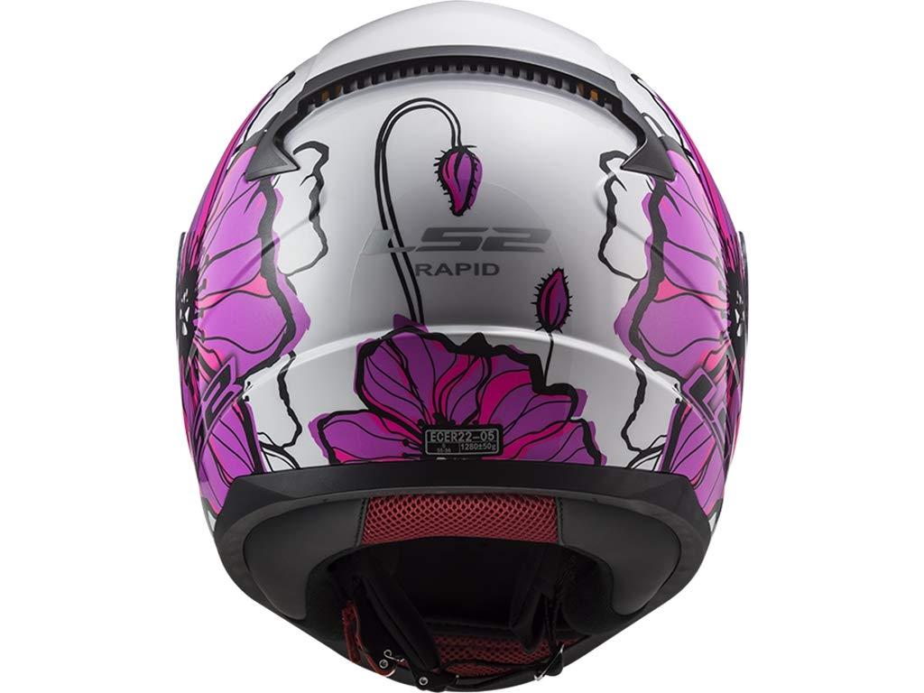 LS2/Casque ff353/Rapid Coquelicots Casque int/égral moto Rose Femme D/écor