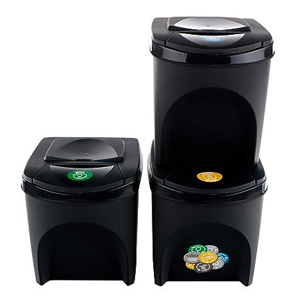 3 x 10 L DIFU Cubo de basura para cocina cubo de basura extracci/ón completa para clasificar para empotrar separador de basura cubo de basura extensible cubo de basura cubo de basura