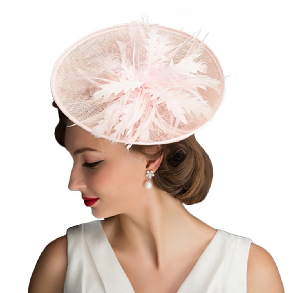 Fascinators Hats for Women,Church Wedding Cocktail Tea Party Feather Pillbox Hat
