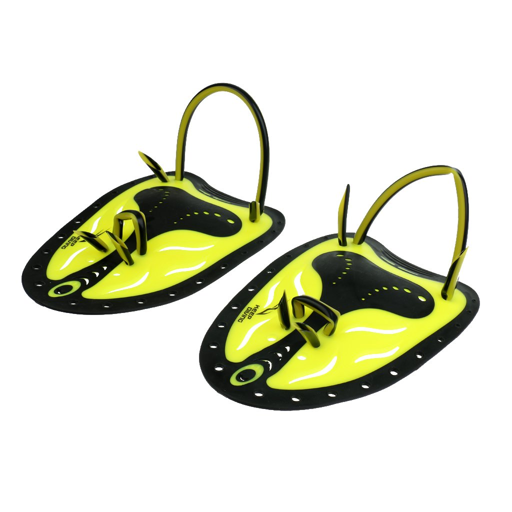 MagiDeal 1 Pair Large Yellow Adult Men Adjustable Silicone Swimming Hand Paddle Swim Fins 8.66 x 5.9 inches