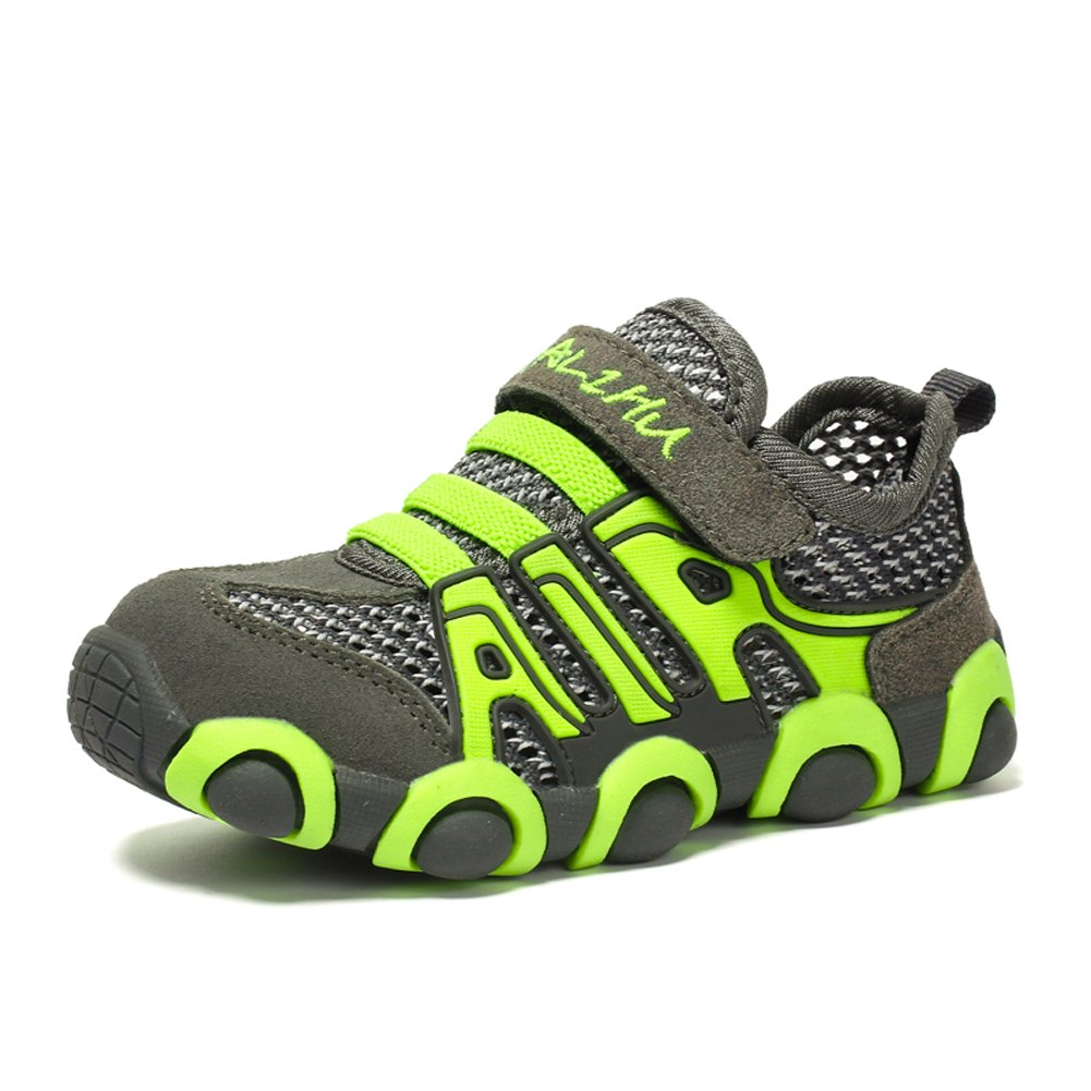 JINDENG Boys Girls Running Shoes Breathable Mesh Casual Sneakers Light Weight School Sport Walking Shoes(Green,29)
