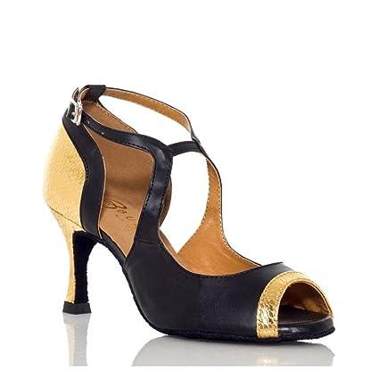 XUE Zapatos Latinos de Tela/Cuero Sandal/Heel Performance Hebilla Cubana Talón Danza Zapatos