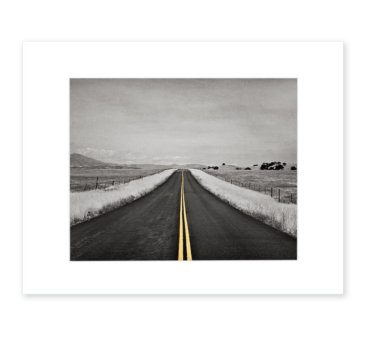 Abstract Black and White Open Road Photography with Yellow Color Accent, 8x10 Matted Photographic Print (fits 11x14 frame) 'Yellow Road Trip'