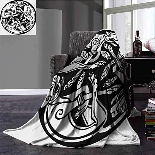 Amazon Com Celtic Family Blanket Three Dogs Biting Their Tails Animal Forms Vikings Heritage Celtic Knots Medallion Super Soft Plush Blanket Full Size Black White 70x90 Inch Home Kitchen