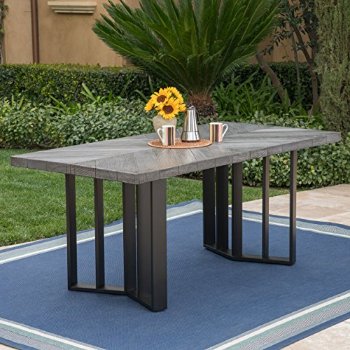 Great Deal Furniture 304102 Andre Outdoor Textured Grey Oak Finish Light Weight Concrete Dining Table, Black