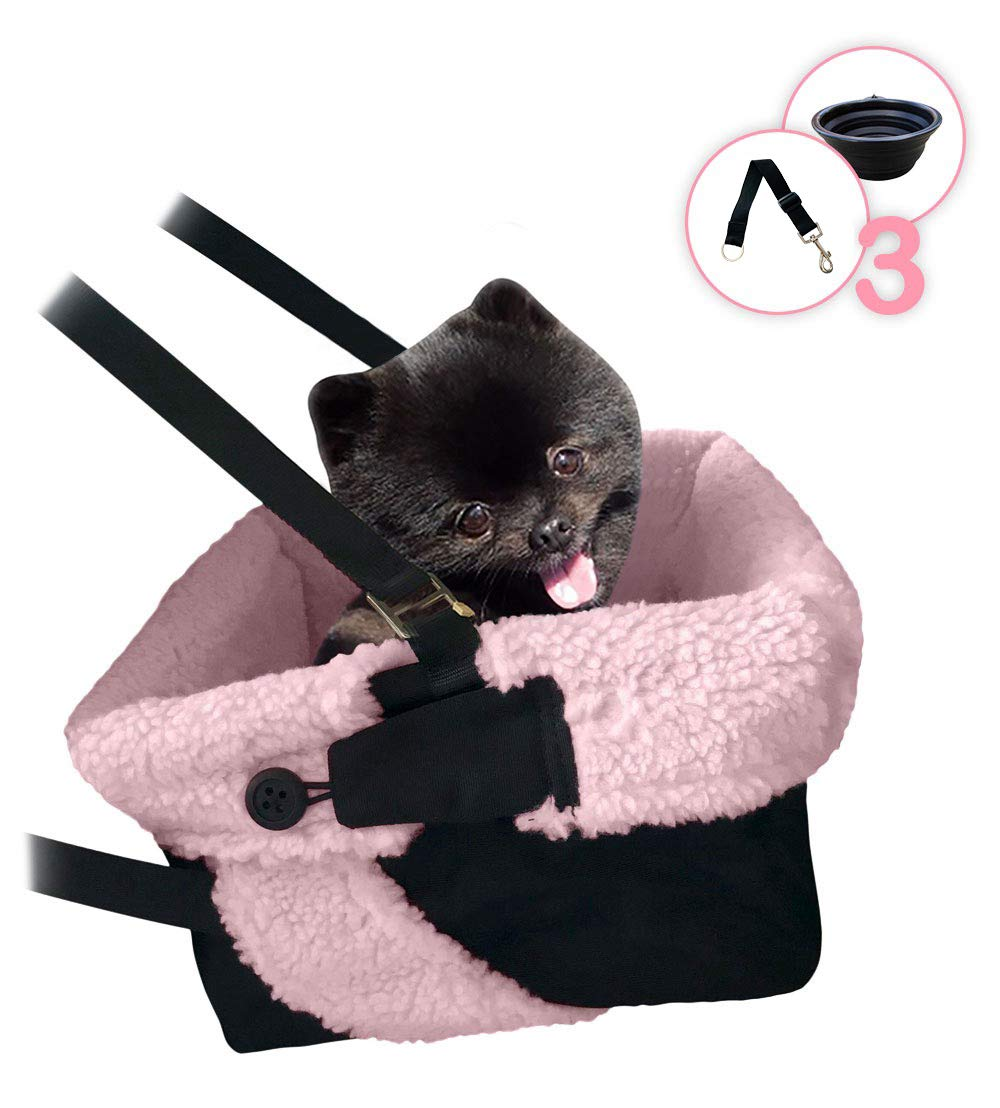 Black & Pink Pink & Black Car Booster Seat + Plush Blanket + Collapsible Dish for Small Dogs, Puppies, and Pets