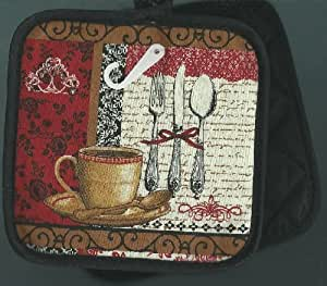Pair of Pot Holders Coffee Cup Spoon Knife Fork