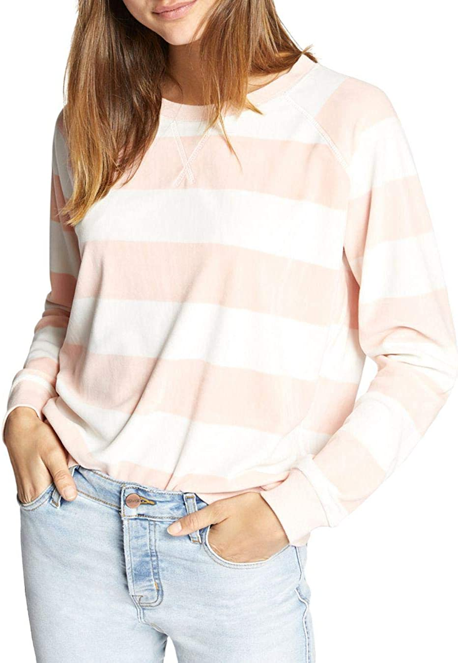 Sanctuary Womens Striped Pullover Sweatshirt
