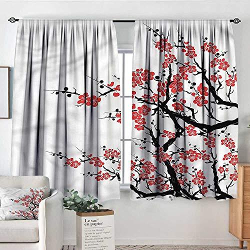 RenteriaDecor Asian,Bocking Ight Rod Curtains Plum Tree Japanese Spring 104