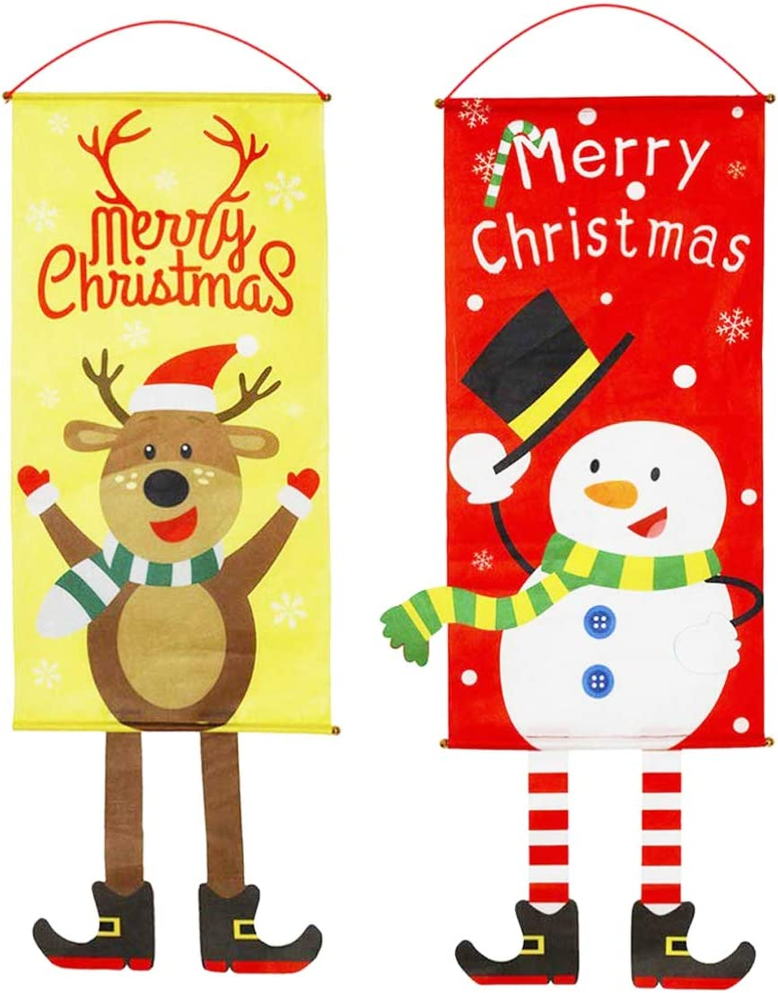 Zuzer Bandera Colgante Navidad, 2pcs Bandera Puerta Banner de Navidad Decoraciones Navideñas Decoración de Navidad Banner Ventana Decoración de La Pared