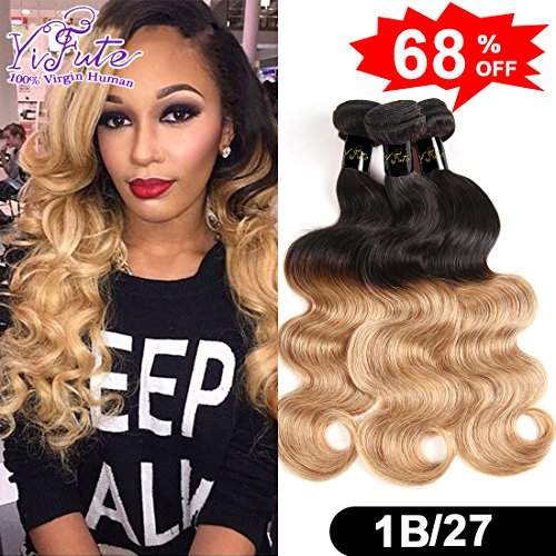 Yifute Hair 16 18 20inches Brazilian Ombre Hair 3 Bundles Ombre Virgin Hair Body Wave Ombre Color Human Hair Extension Two Tone #1B/27 Color