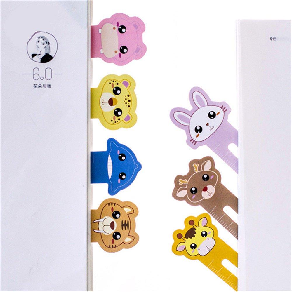novit/à divertenti Righello segnalibro per studenti 60 pezzi Segnalibri animali svegli per bambini Bambini Ragazzi ragazze