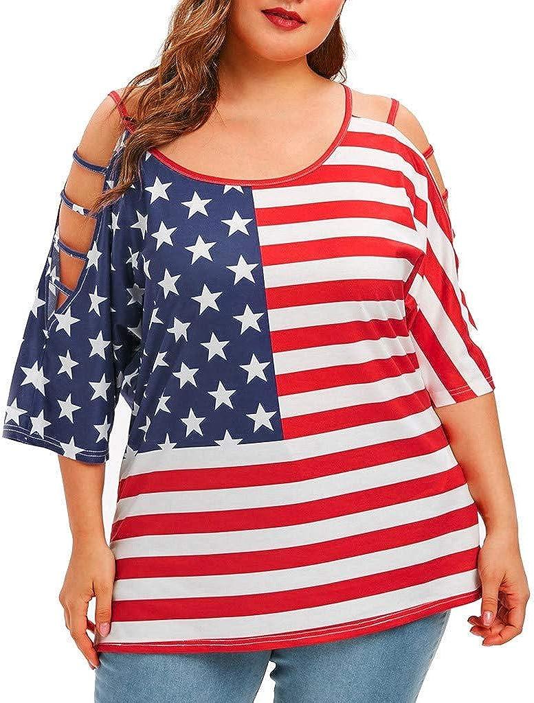 Camisas de 4 de Julio para Mujer de Talla Grande, Bandera de Estados Unidos con Hombros Descubiertos, Blusa con impresión - Rojo - XX-Large: Amazon.es: Ropa y accesorios