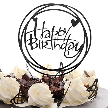 Techrace Happy Birthday Cake Topper Acrylic Cupcake A Series Of Supplies