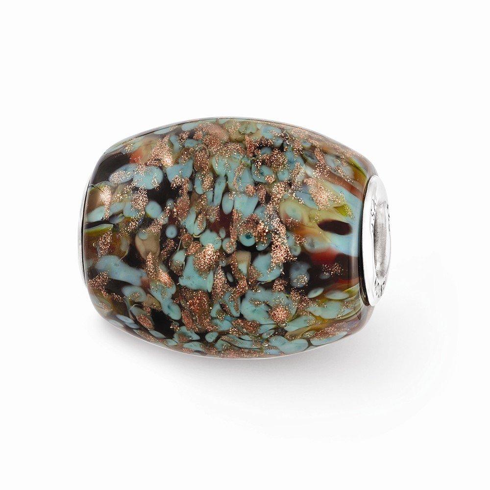 Best Birthday Gift Ster.Silver Reflections Multi-color Glitter Desert Sunset Fenton Glass Bead