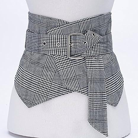 2018 primavera y verano moda tendencia rayas chaleco cintura sello mujer ancho vestido decorativo cinturón Gris: Amazon.es: Deportes y aire libre