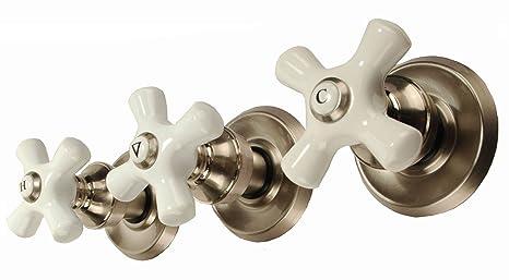 Brushed Nickel 3 Handle Shower Faucet.Trim Kit For 3 Handle Shower Valve Fit Delta Washerless