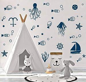 TOARTi Ocean Sea Life Wall Decal, Octopus, Sailboat, Fish Sticker for Nursery Sea World Theme Decoration,Cute Nautical Decor