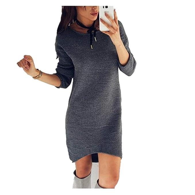 Donna Vestito In Jersey Autunno Invernali Eleganti Moda Maglioni Lunghi  Monocromo Rotondo Collo Manica Lunga Irregular Grazioso Maglione Lana  Vestito In ... 237feebbb9e