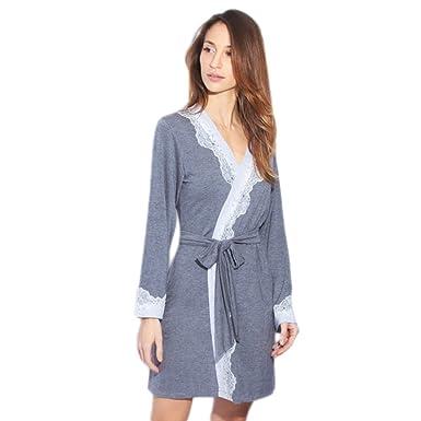 6a2b54eca2dc89 Damen Nachtwäsche Kimono Baumwolle Bademantel Kurz V-Ausschnitt Morgenmantel  Spitze Sexy Schlafanzug Für Frauen: Amazon.de: Bekleidung
