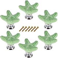 Mobili Pomelli, Lommer 6 pezzi Stella Marina in Ceramica Mobili Manopola Rotonda Fashion Manico in Porcellana Bambini Pomello per cassetto/armadi/armadio, Ceramica, 3.4 * 3.4 * 2.4cm