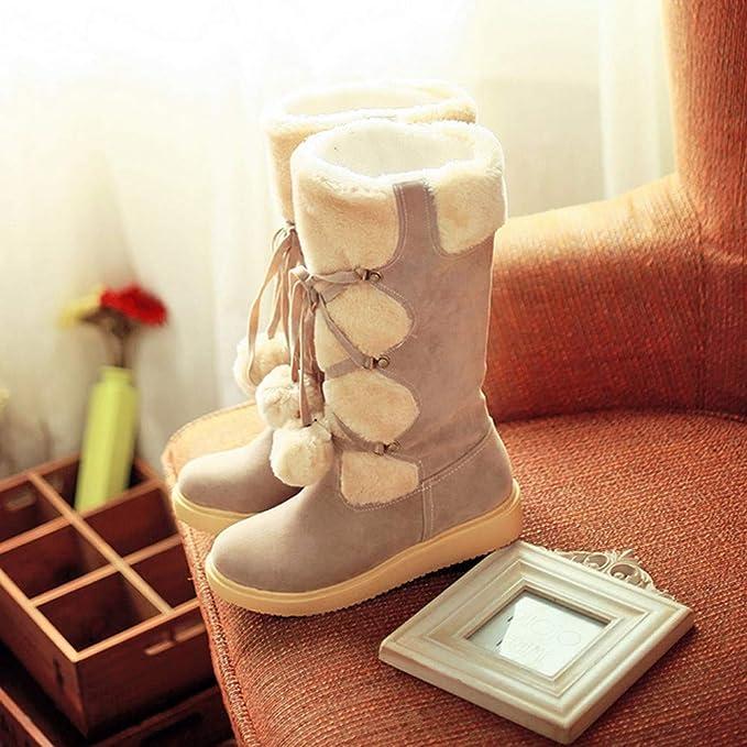 ZODOF Botas de Nieve para Mujer Calzado sin Cordones de Gamuza Redondeada de Gamuza para Mujeres Mantenga cálidas Las Botas de Nieve de Tubo Medio: ...