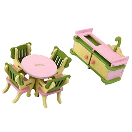 Imported Colorful Wooden Furniture Dolls House Miniature Living/Dinning  Room Set For Kids
