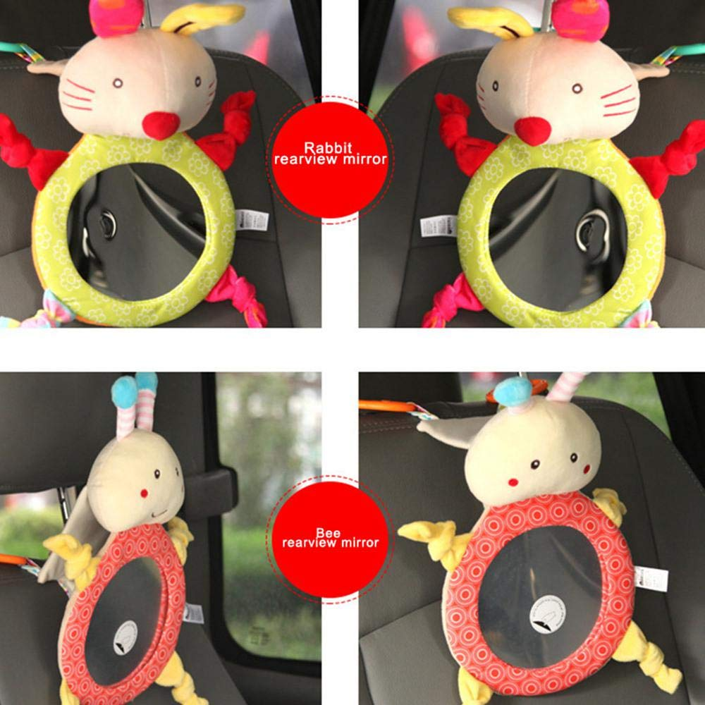 Fewao Baby Car Mirror,Baby Plush Cartoon Animal Car Mirrors for Back Seat,Safty Shatterproof Rear View Mirror to See Rear Facing Infants and Babies