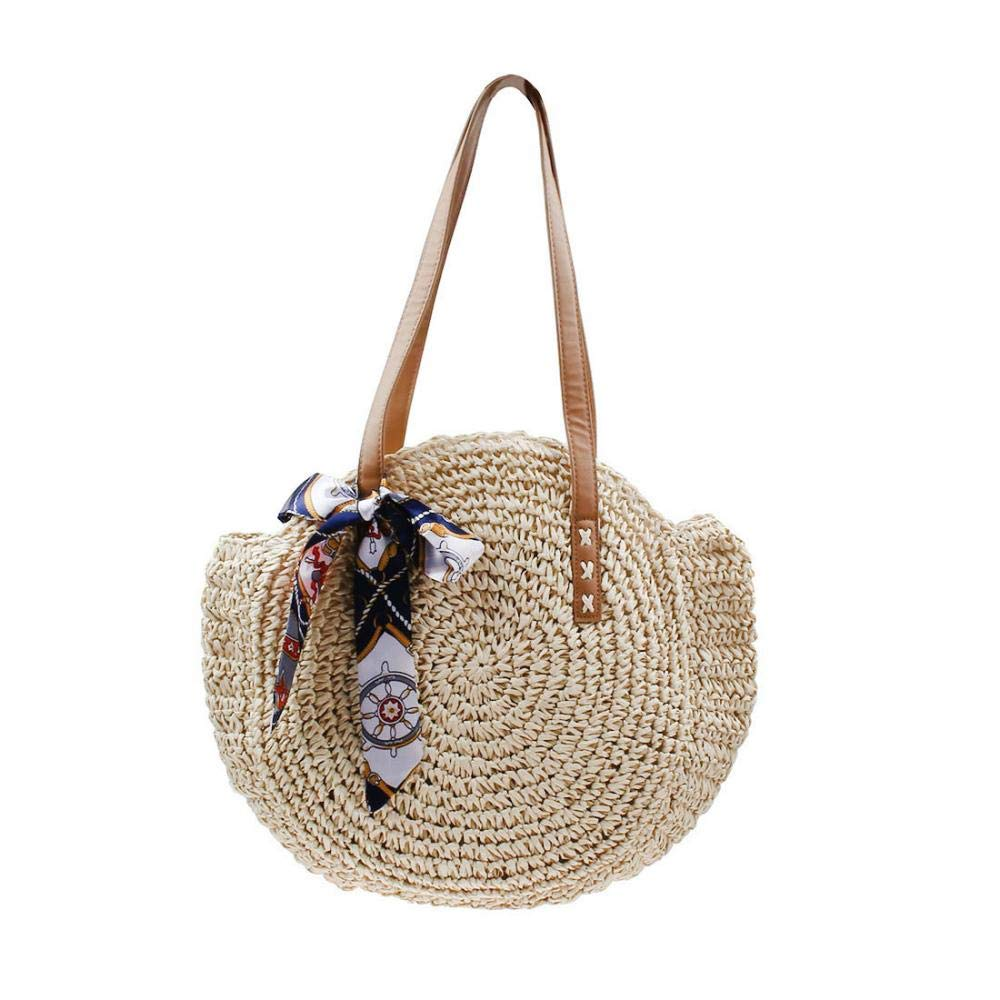 85436e140a01 Round Straw Bag Large Summer Beach Straw Tote Bag Woven Purse Handle  Shoulder Bag for Women Vocation Handbags
