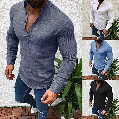 Longues Gris Casual Fit Shirt Manches Tomwell Homme Col Mode Chemise Plage Confortable V Slim Respirant Tops nxPYqTZY