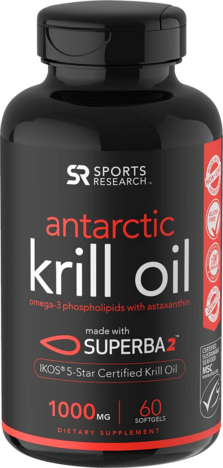 Antarctic Krill Oil Double Strength with Omega3s EPA DHA and Astaxanthin 60 Softgels  1000mg