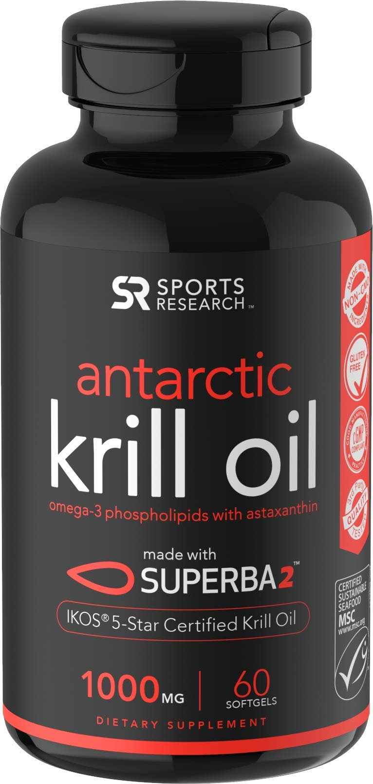 Antarctic Krill Oil (Double Strength) with Omega-3s EPA, DHA and Astaxanthin (60 Softgels - 1000mg) by Sports Research