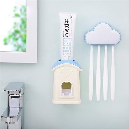 Asien Dispensador de pasta de dientes automático con cepillo de dientes titular Montado en la pared