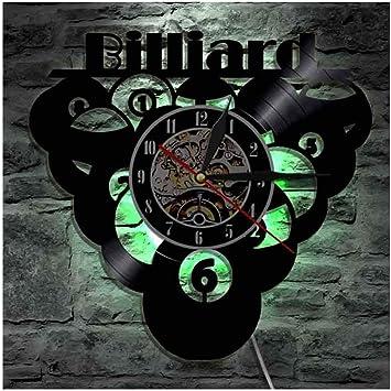 OLDFAI Reloj De Pared Vinilo Vintage, Logo con Billiard Accesorios ...
