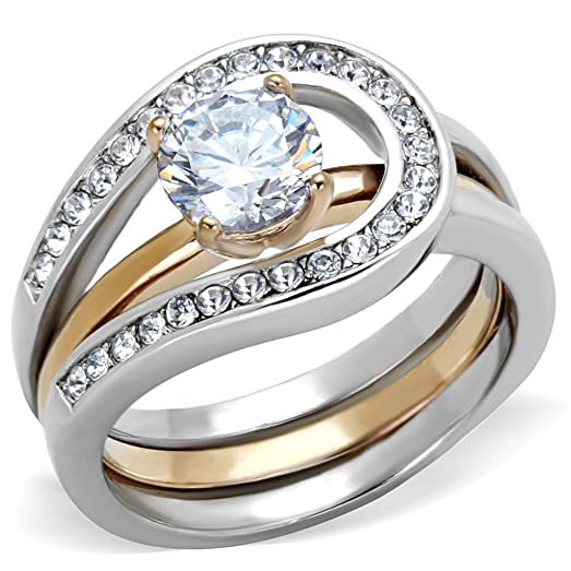 1Ct Round Cut Two Toned Stainless Steel 2 Piece Wedding Ring Set Womens Size 5