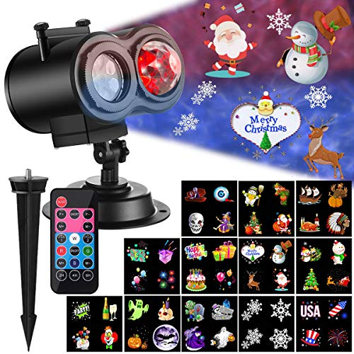 Ocean Wave Christmas Projector Lights 2-in-1 Moving Patterns with Ocean Wave LED Landscape Lights Waterproof Outdoor Indoor Xmas Theme Party Yard Garden Decorations, 12 Slides 10 Colors (Black) (Best Xmas Light Projector)