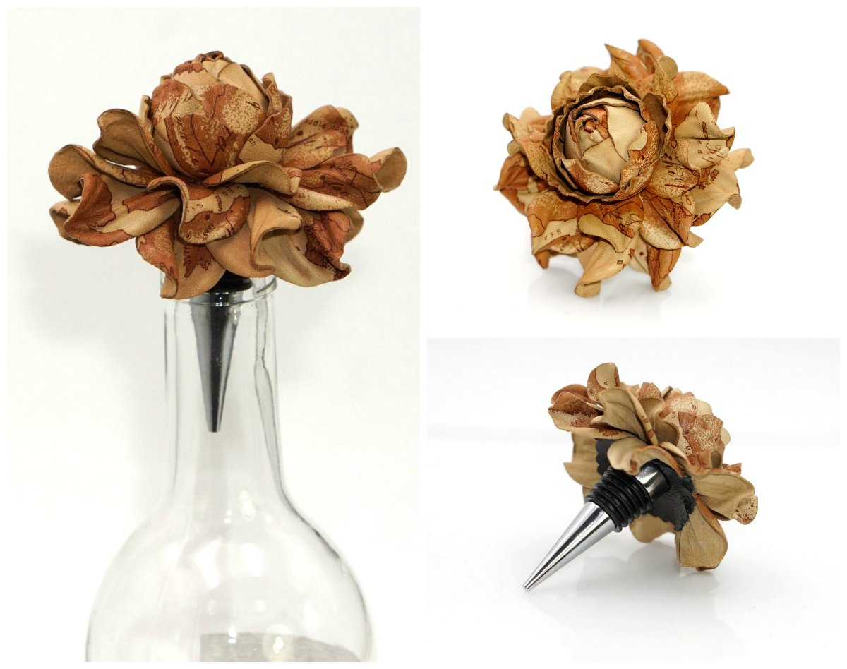 Gift for Wine Lover - Yak Lialia Flower Wine Bottle Stopper with Genuine Leather Rose 3.5'' in Gift Box