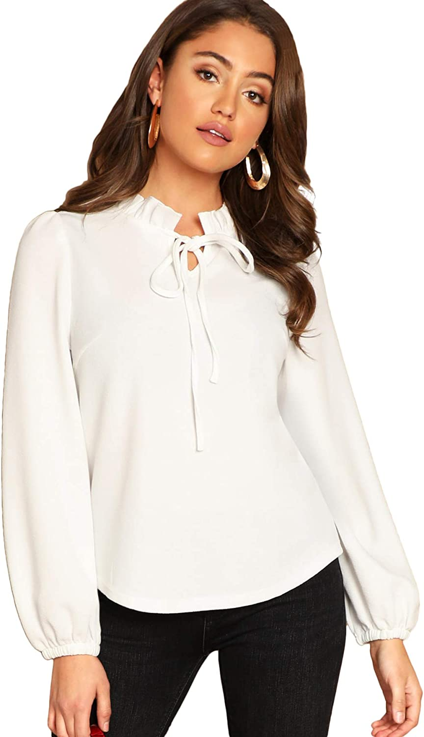 SheIn Women's Long Sleeve Front Bow Tie Ruffle Collar Elegant Blouse Shirt Tops