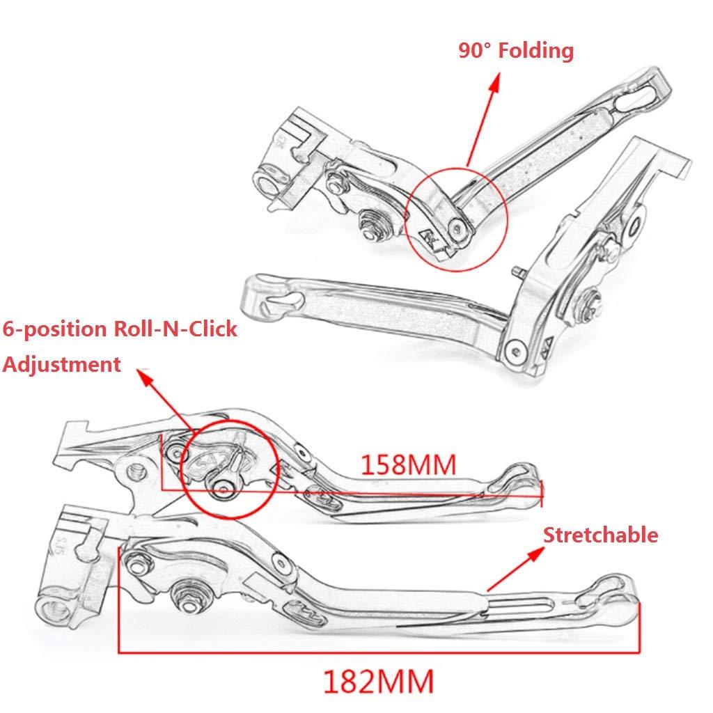 rallongeant pour Kawasaki ER-5 Ninja 650R Versys Z750 ZX6 ZXR400 600 W800//SE Levier d/'embrayage de frein se pliant Type pliable Rouge Couleur