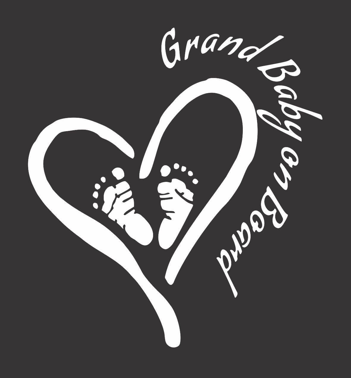 Grand Baby on Board Die Cut Vinyl Window Decal//Sticker for Car//Truck 5.5x6 Heart//Feet