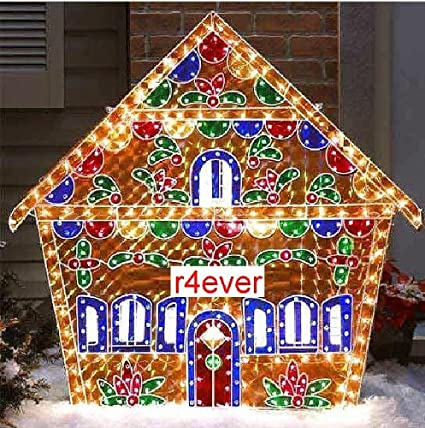 holographic lighted gingerbread house christmas yard decorations