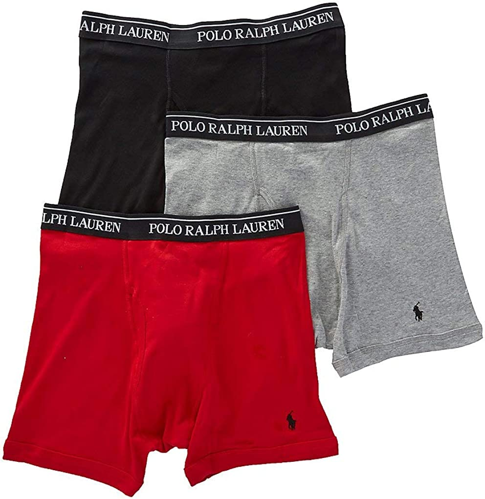 Polo Ralph Lauren Classic Fit w/Wicking 3-Pack Boxer Briefs Andover Heather/Rl2000 Red/Black XL